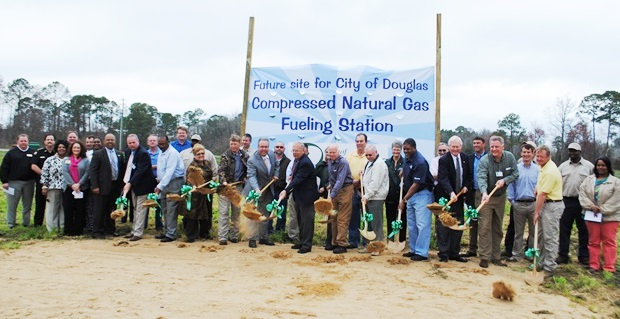 Douglas CNG Groundbreaking Ceremony - Group Holding Shovels of Dirt