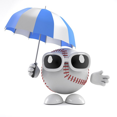 Baseball holding umbrella and wearing shades