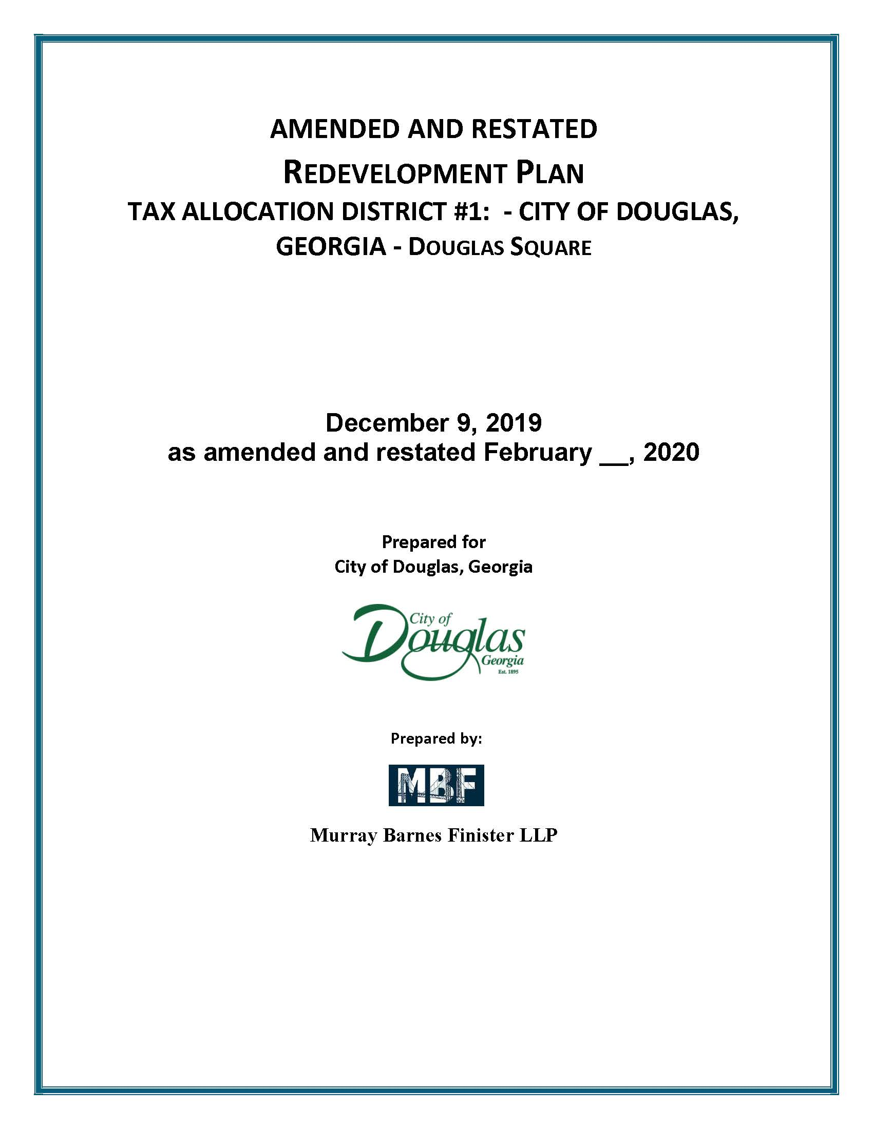 Amended and Restated  Redevelopment Plan City of Douglas