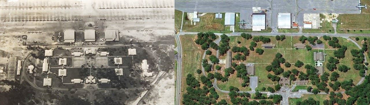 Photo of Airport during WWII and Present Day